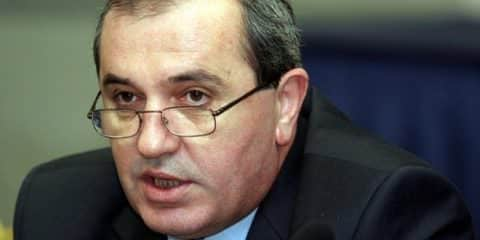 "Albanian Foreign Minister Besnik Mustafaj speaks during an International Conference ""The Final Status of Kosovo and the Security in the Balkan"" in Tirana 21 October 2006. Mustafaj said that the status of the UN-administered province of Kosovo should be resolved in the end of the year, amid rumours that a decision on its status might be delayed.       AFP PFOTO/GENT SHKULLAKU  (Photo credit should read GENT SHKULLAKU/AFP/Getty Images)"
