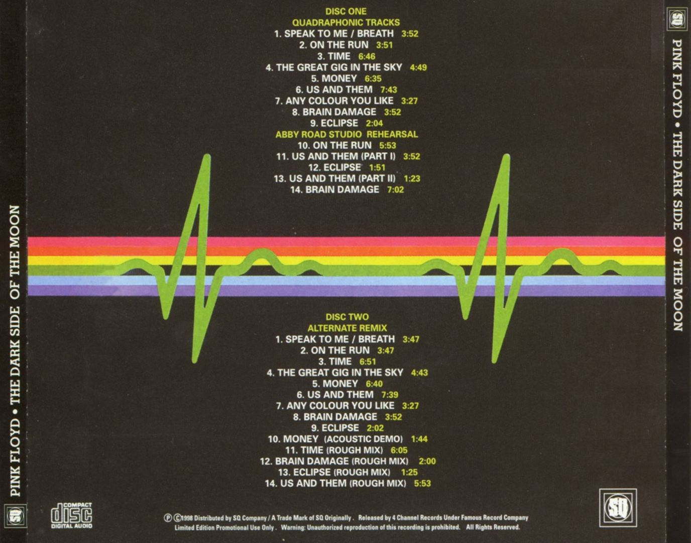 Pink Floyd - The Dark Side Of The Moon (Promo) - Back