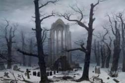 Cimitero del monastero sotto la neve, Klosterfriedhof im Schnee