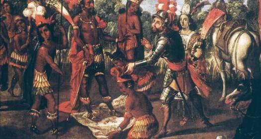 CORTES & MONTEZUMA, 1519.  The meeting of Cortes and Montezuma II at Tenochtitlan, 8 November 1519. Oil on canvas.