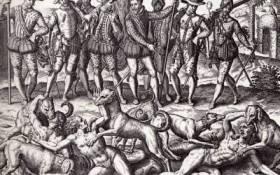 indios sbranati dai cani, disegno di Teodoro de Bry