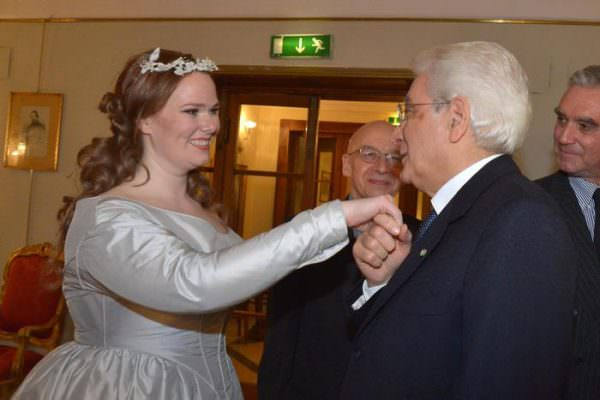 """Italian President Sergio Mattarella greets by actress at Opera Theatre to attend at the tragic opera """"Lucia di Lammermoor"""" by Gaetano Donizetti in Rome, Italy, 31 March 2015. ANSA/ANTONIO DI GENNARO/ITALIAN PRESIDENCY PRESS OFFICE +++ ANSA PROVIDES ACCESS TO THIS HANDOUT PHOTO TO BE USED SOLELY TO ILLUSTRATE NEWS REPORTING OR COMMENTARY ON THE FACTS OR EVENTS DEPICTED IN THIS IMAGE; NO ARCHIVING; NO LICENSING +++"""